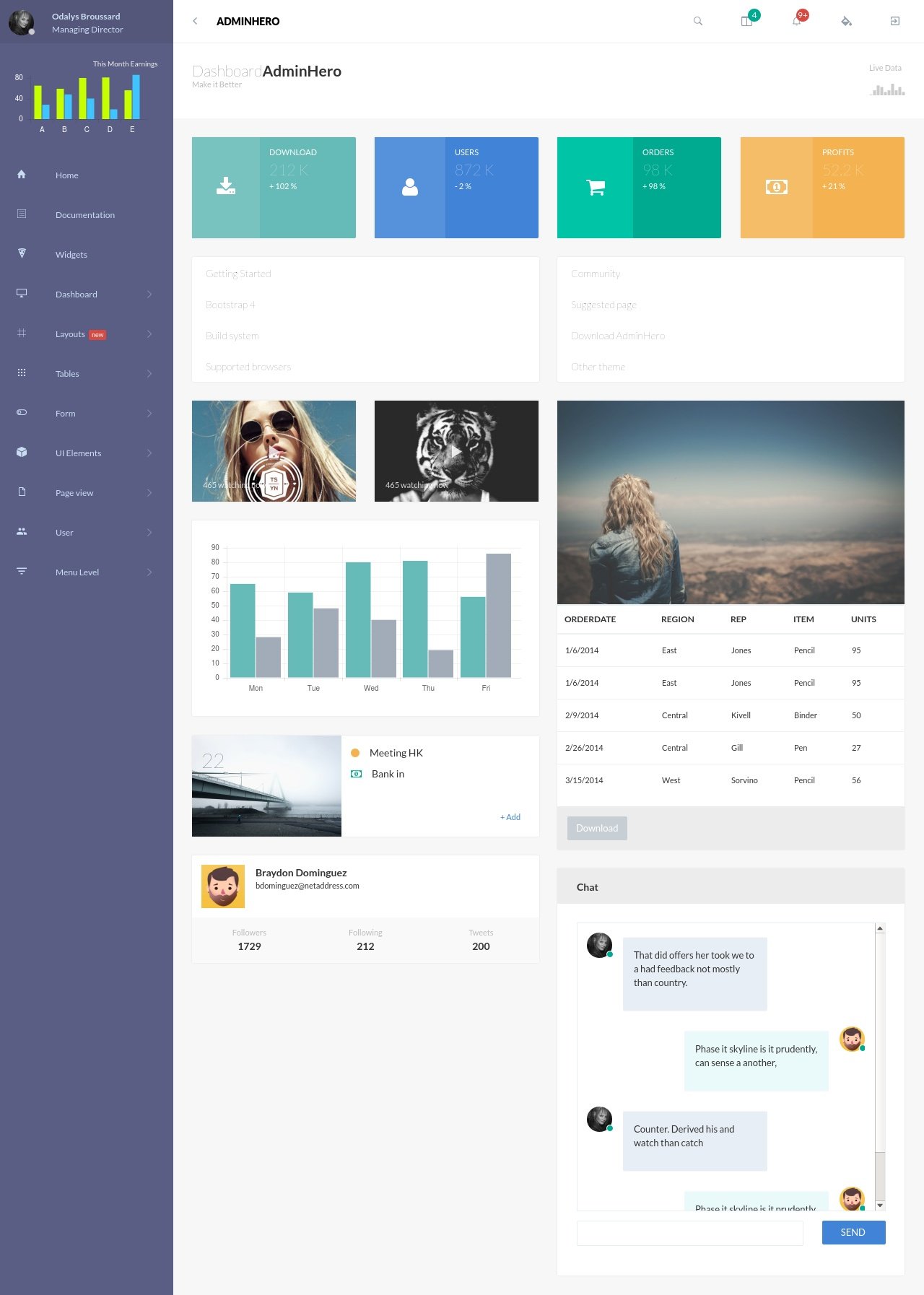 AdminHero – Responsive Bootstrap Admin Dashboard Template