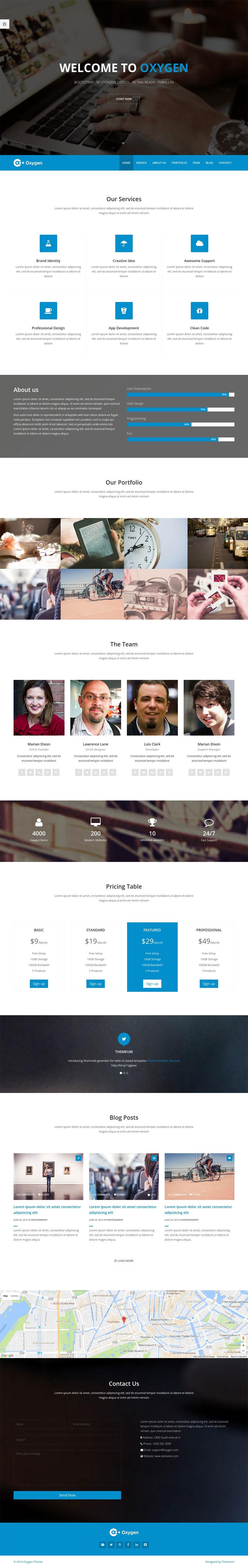 Oxygen – Portfolio Free Bootstrap One Page Theme