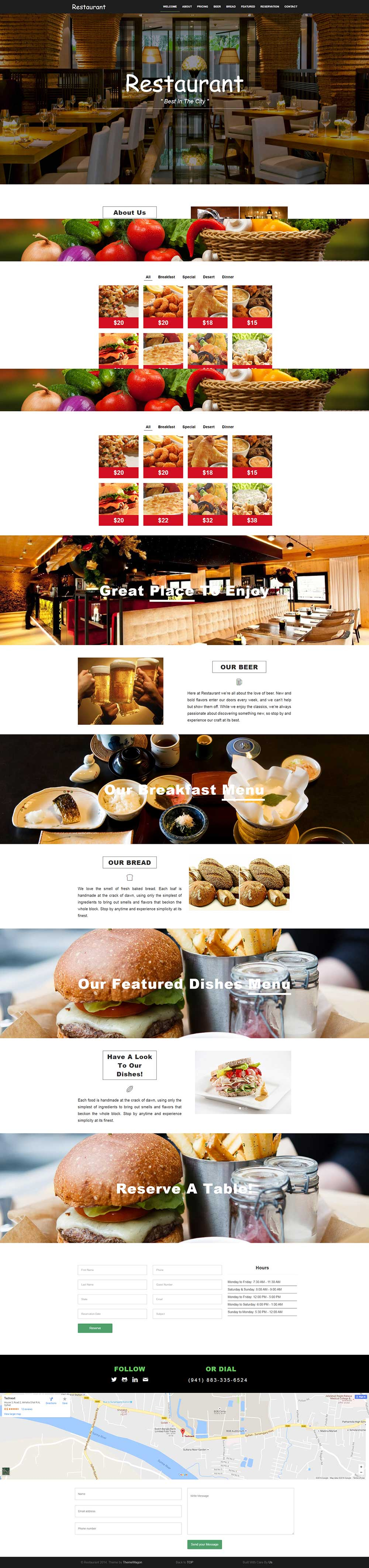 Restaurant – A Free Restaurant Cafe HTML5 Template with Bootstrap 3