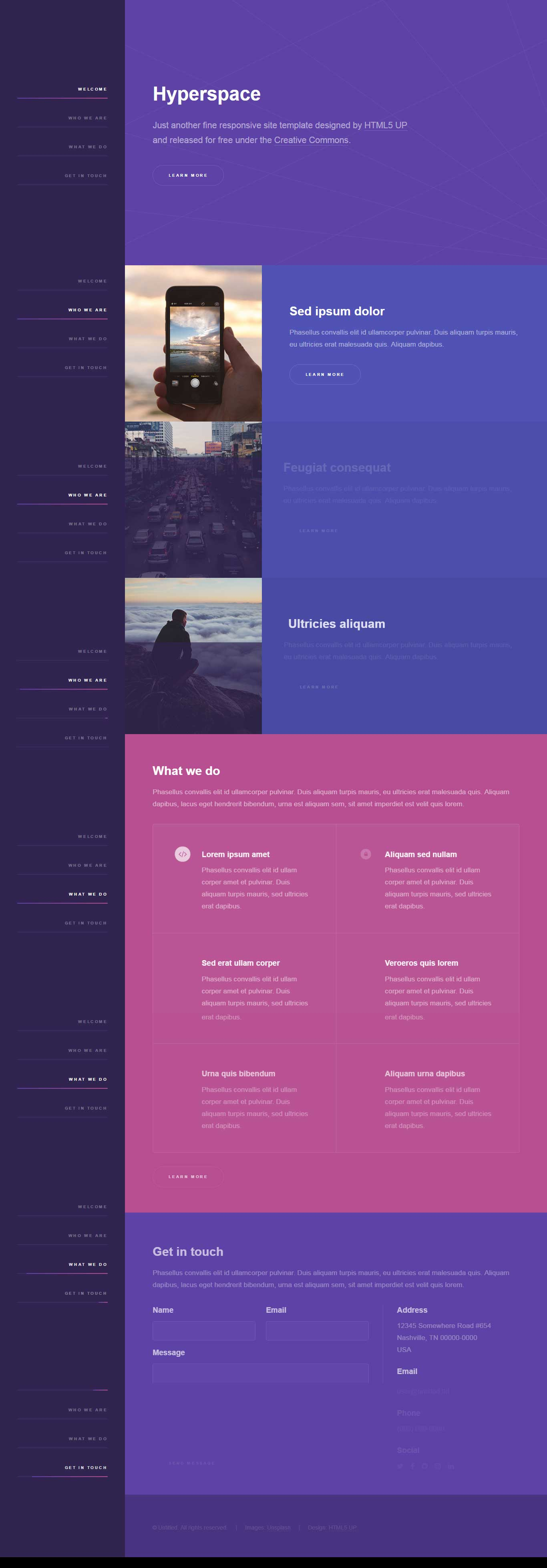 Hyperspace : Responsive One Page website template