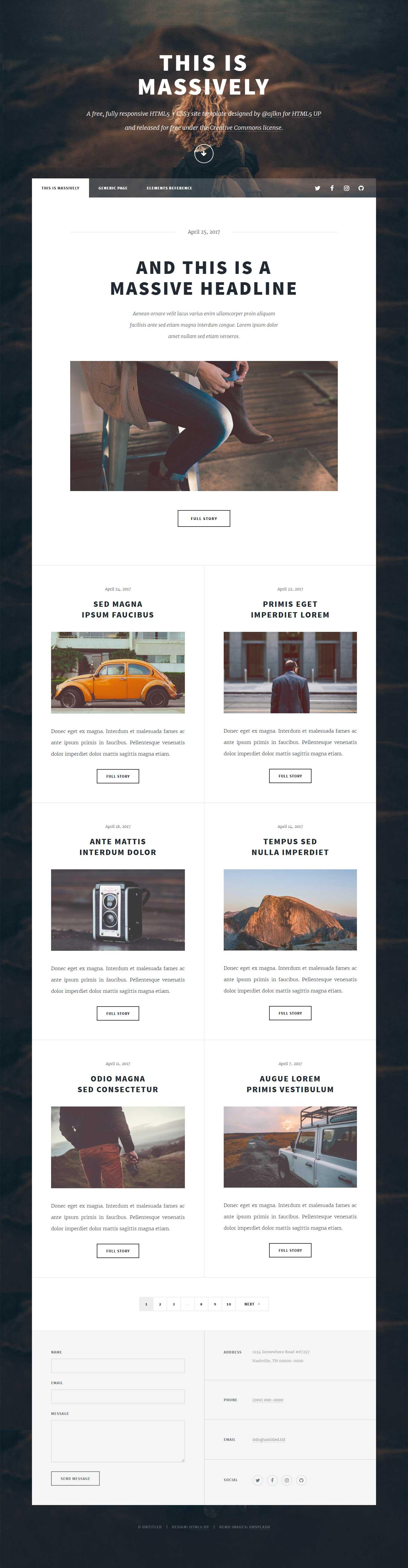 Massively : Fully Responsive HTML5 Template
