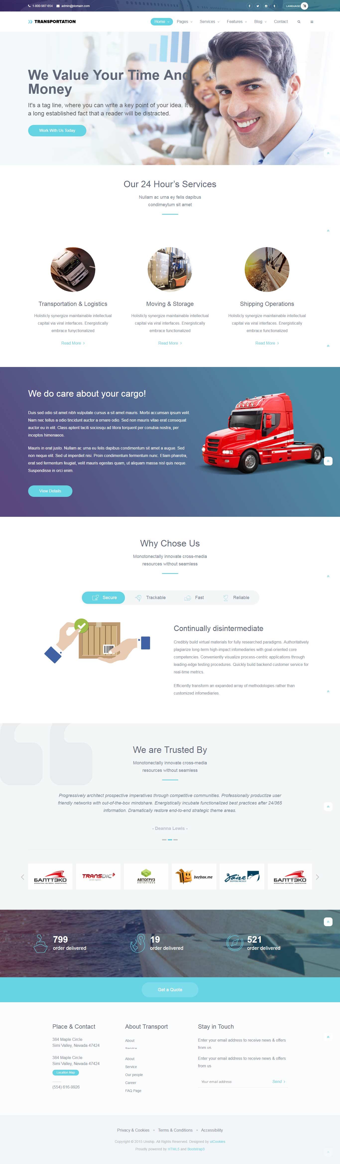 Transportation – Best Free Bootstrap HTML5 Website Template