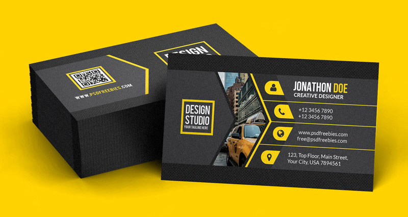 Creative Black Business Card PSD Mockup Template