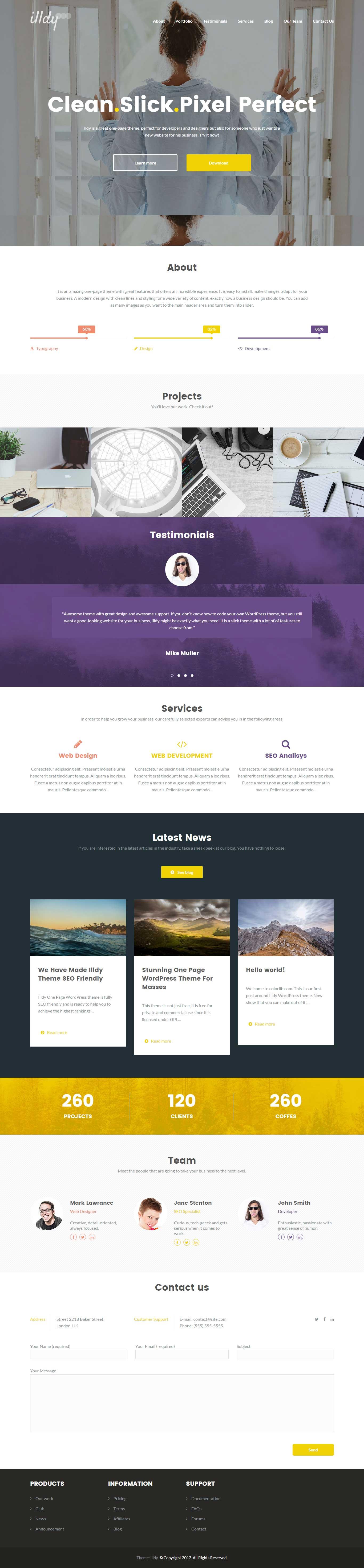 Illdy-free one page wordpress theme