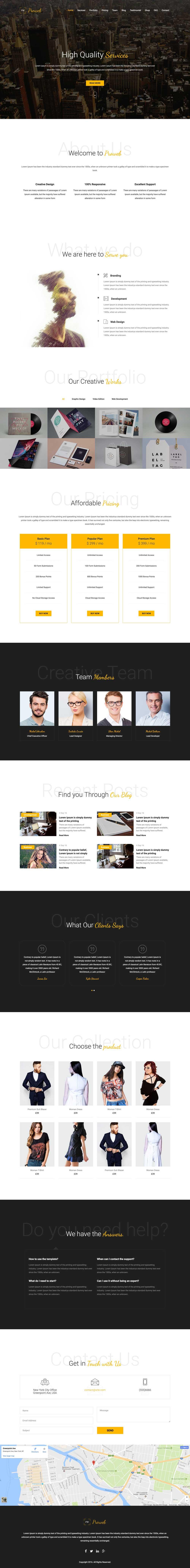 Proweb – One Page WordPress Theme Free Download