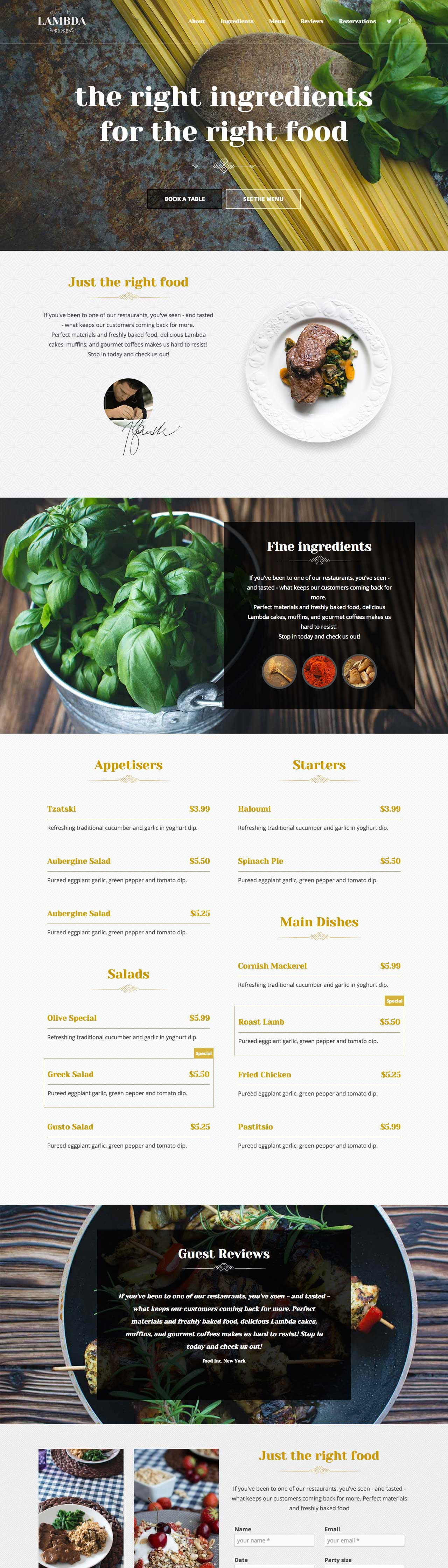 Restaurant Template – Free One Page PSD Template