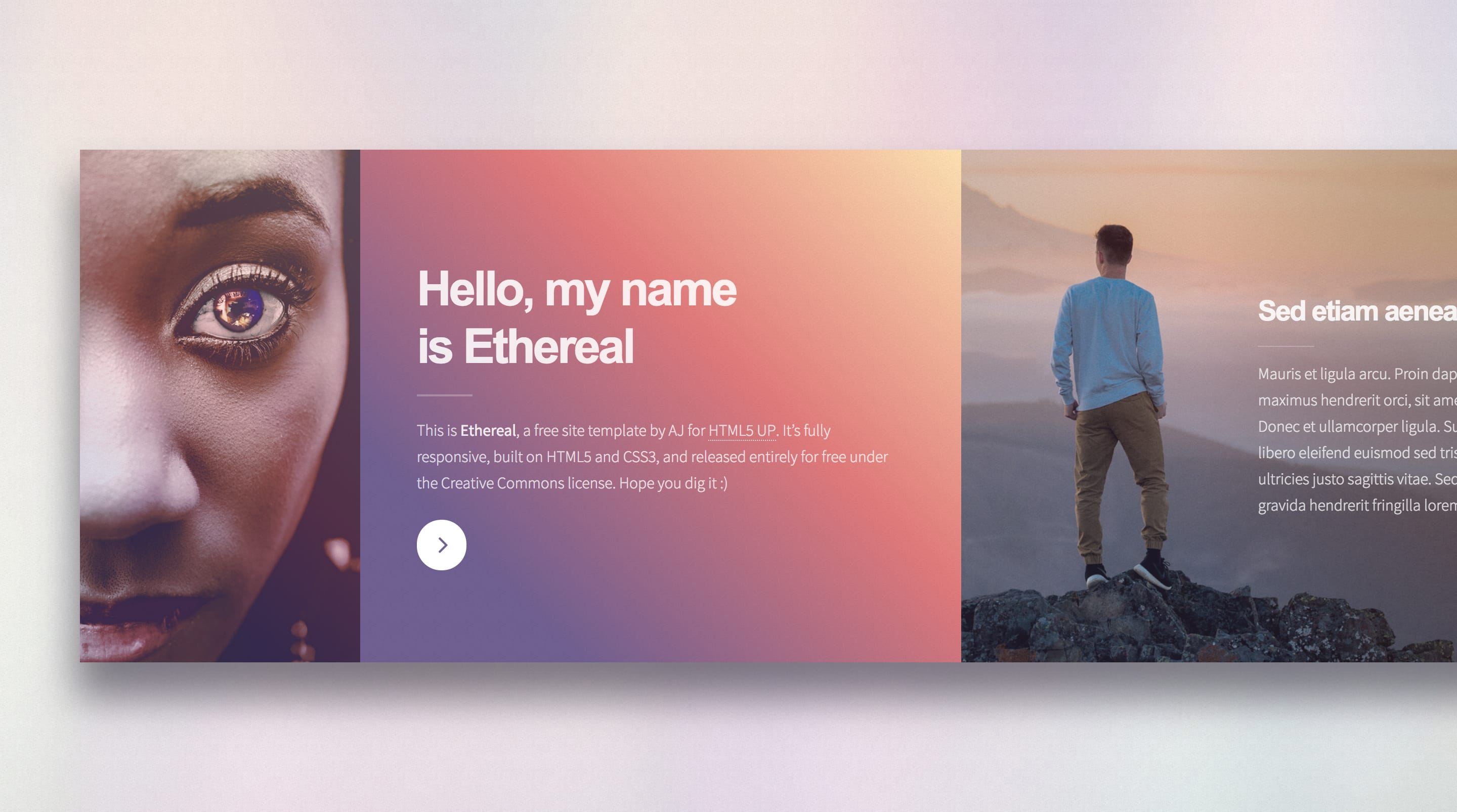 Ethereal Photography Portfolio Free One Page HTML Template