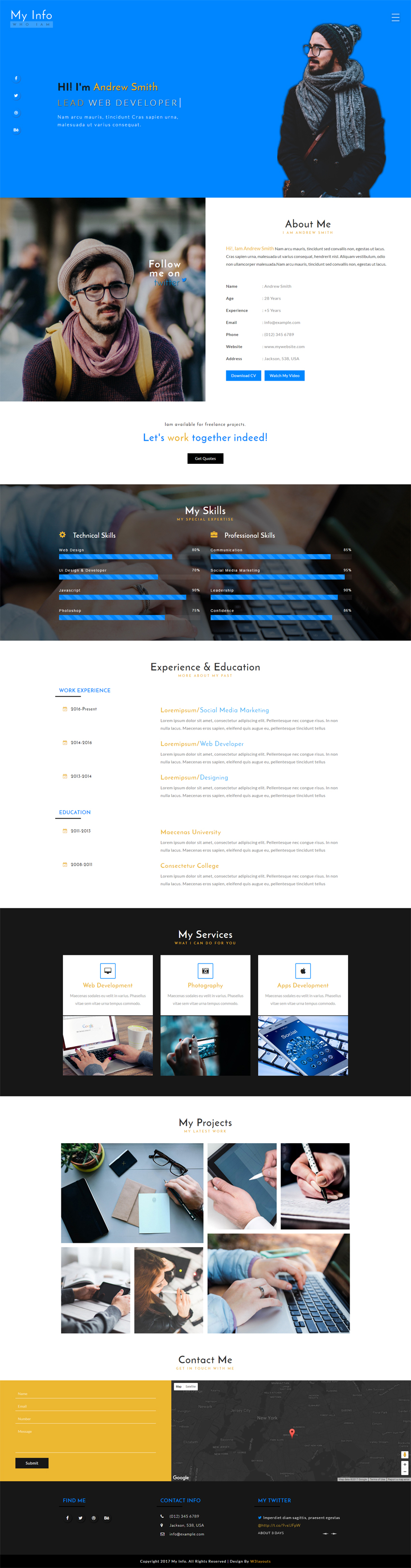 My Info Personal Profile Bootstrap Responsive Web Template