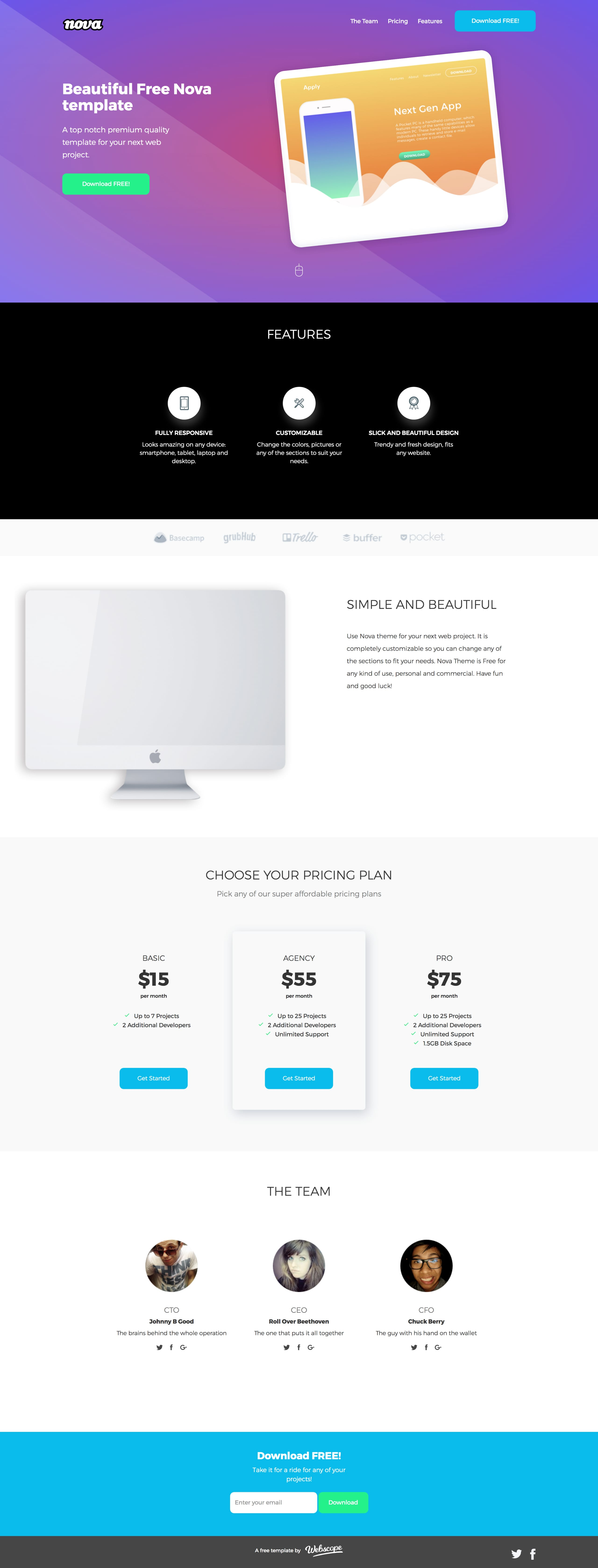 Nova Clean Responsive Landing Page HTML template