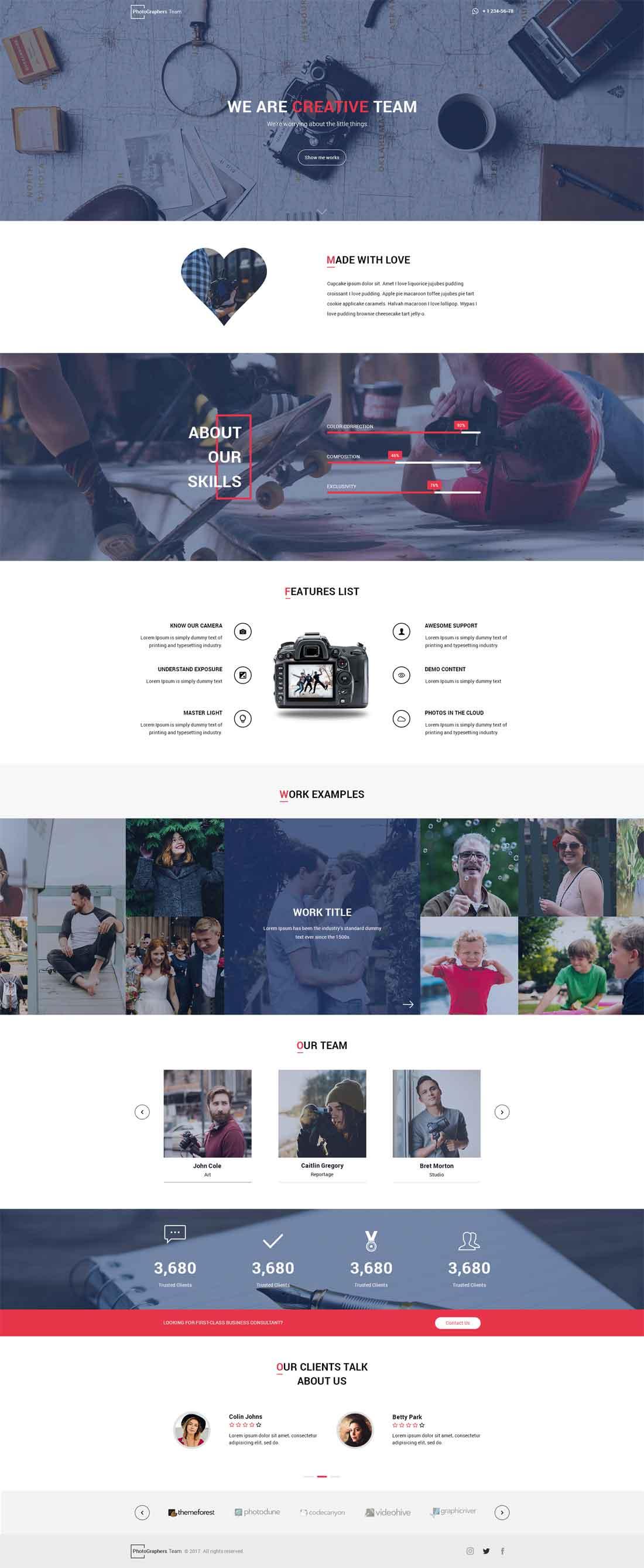 Photographer Studio – Personal Portfolio PSD Template