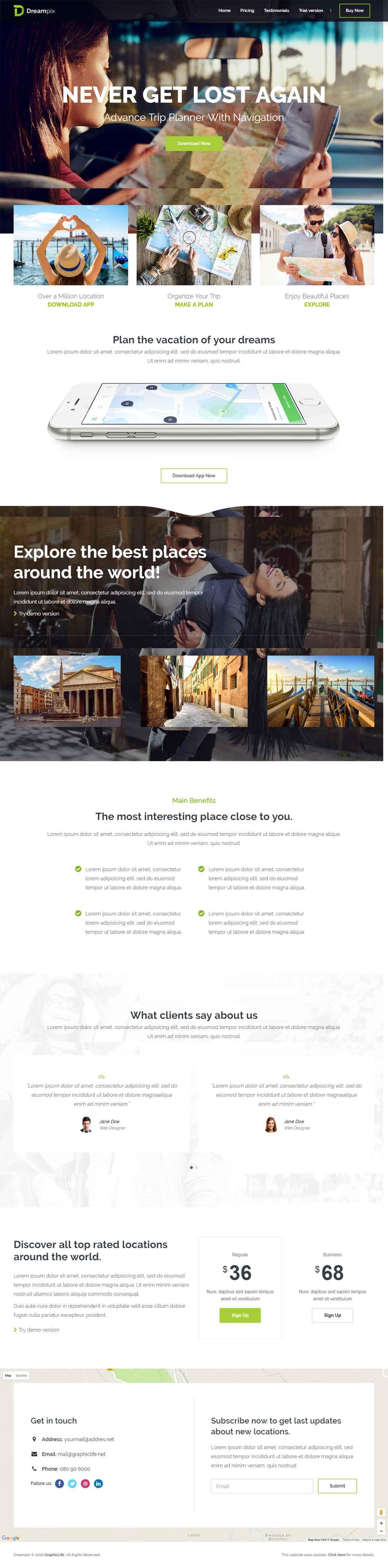 Dreampix – Responsive HTML5 CSS3 Landing Page Template