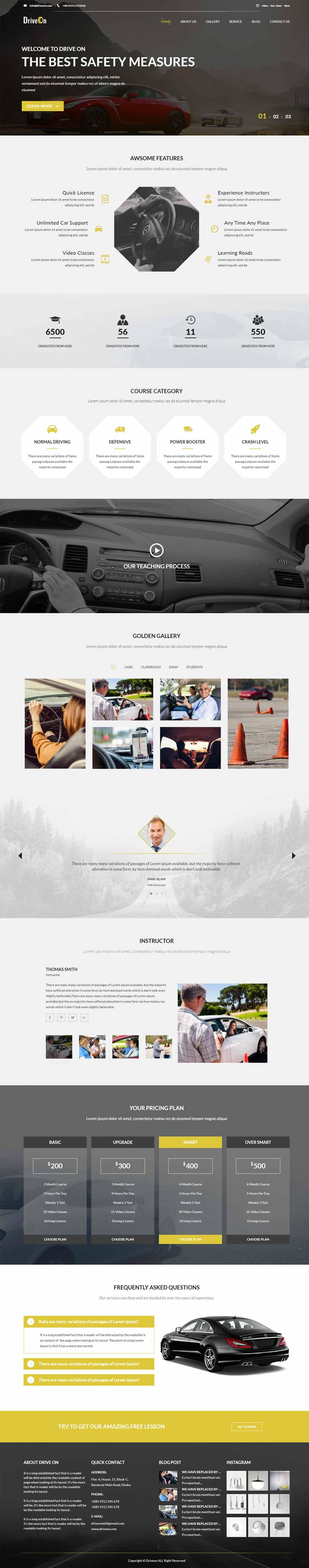 DriveOn – Driving Responsive School WordPress Theme