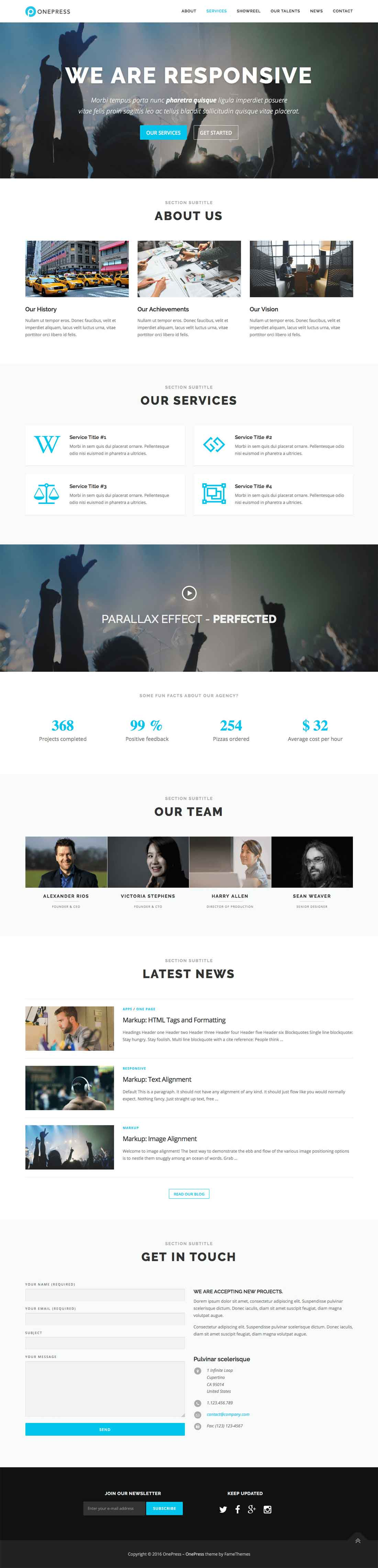 OnePress Free One Page Responsive Portfolio WordPress Theme