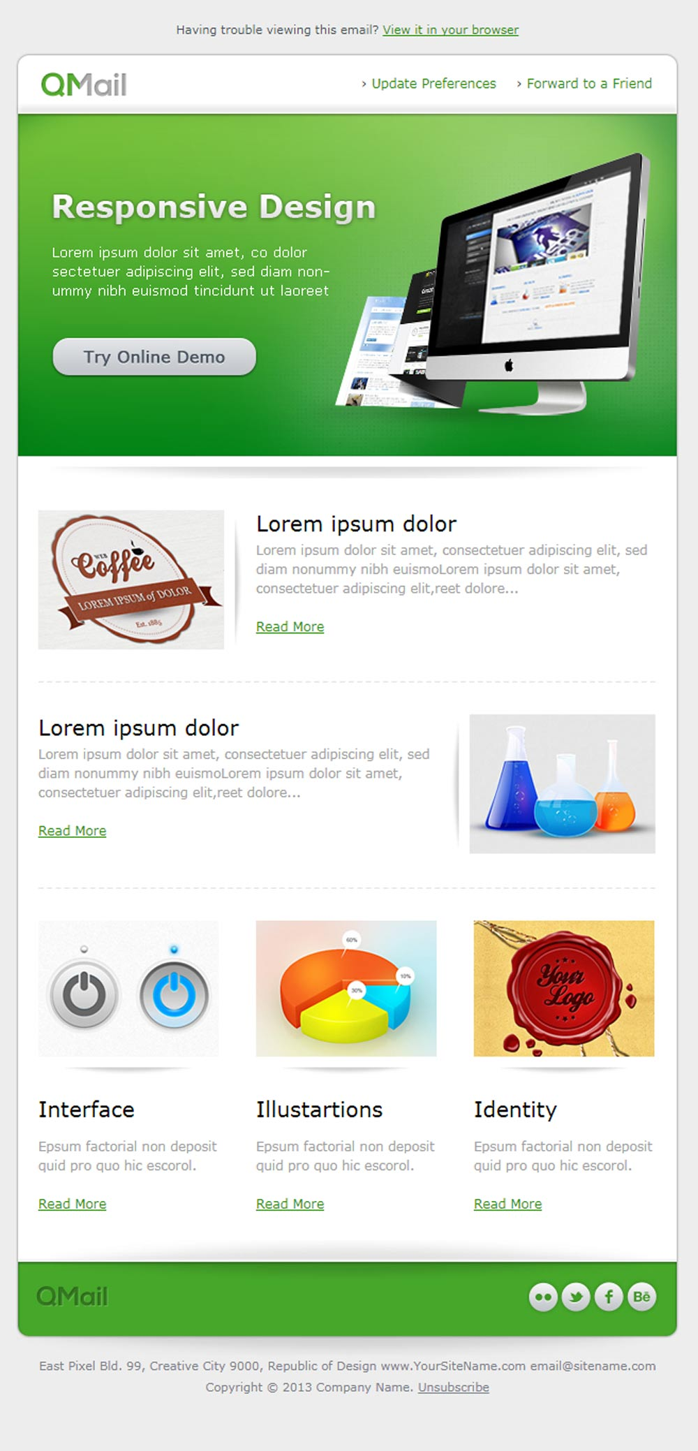 Free Email Product Newsletter Template in Green Color