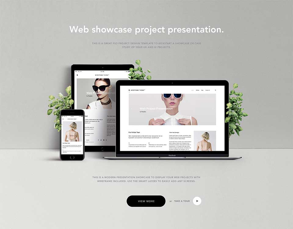 Elegant Website Showcase Portfolio Psd Template