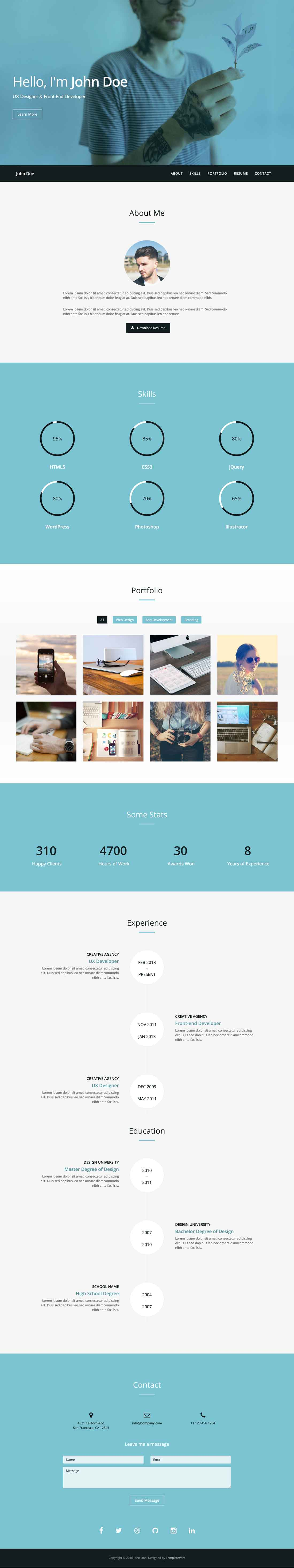 Verum Free One Page Responsive HTML Template