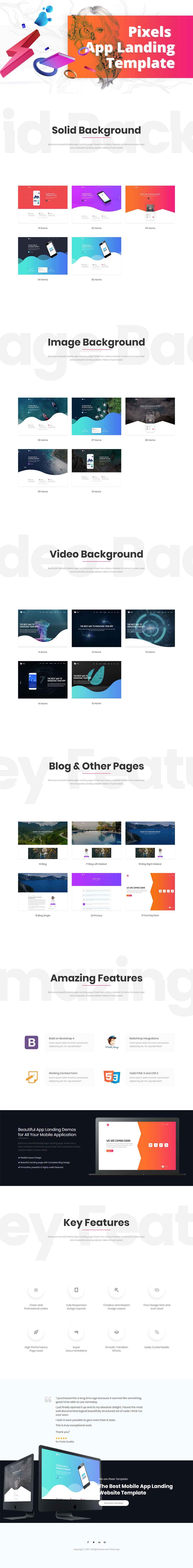 Pixels – Responsive Creative App Landing HTML5 Template