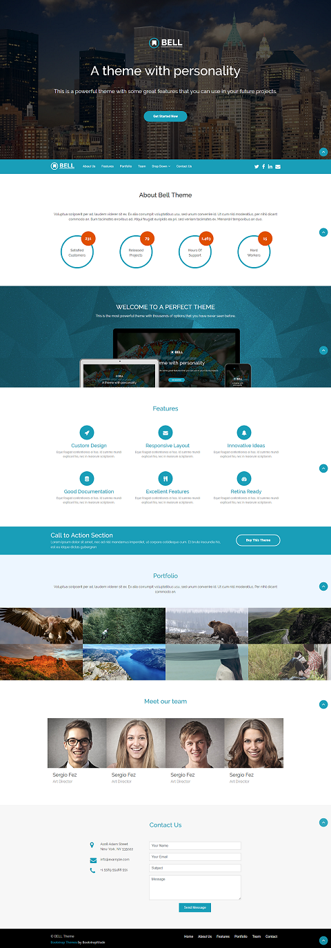 Bell Free Single Page Bootstrap Template | Multipurpose Website