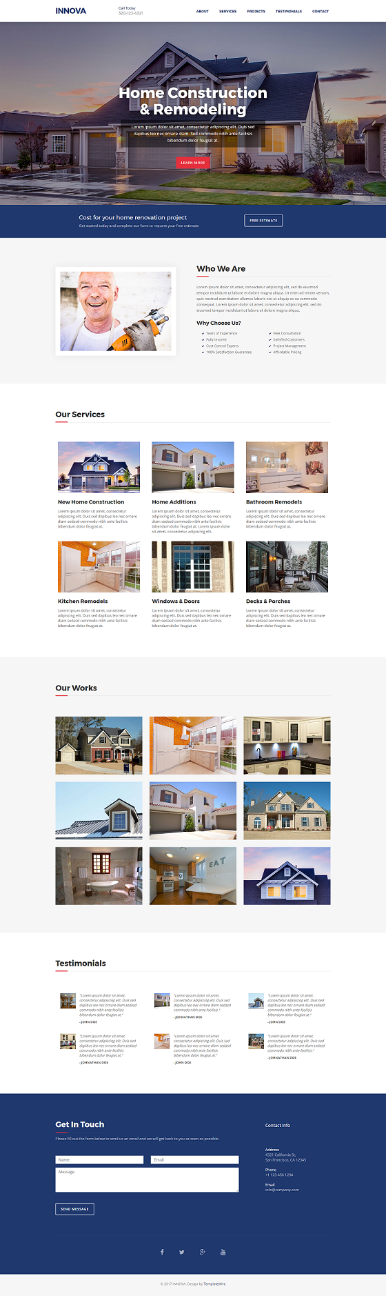 Free One Page HTML Website Template Suited for Construction