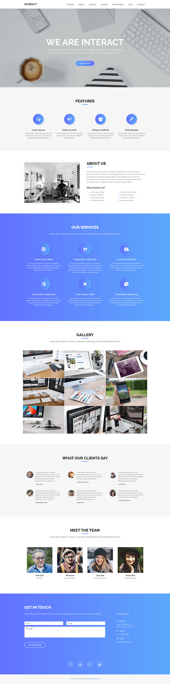 Interact Free One Page Responsive Bootstrap Template