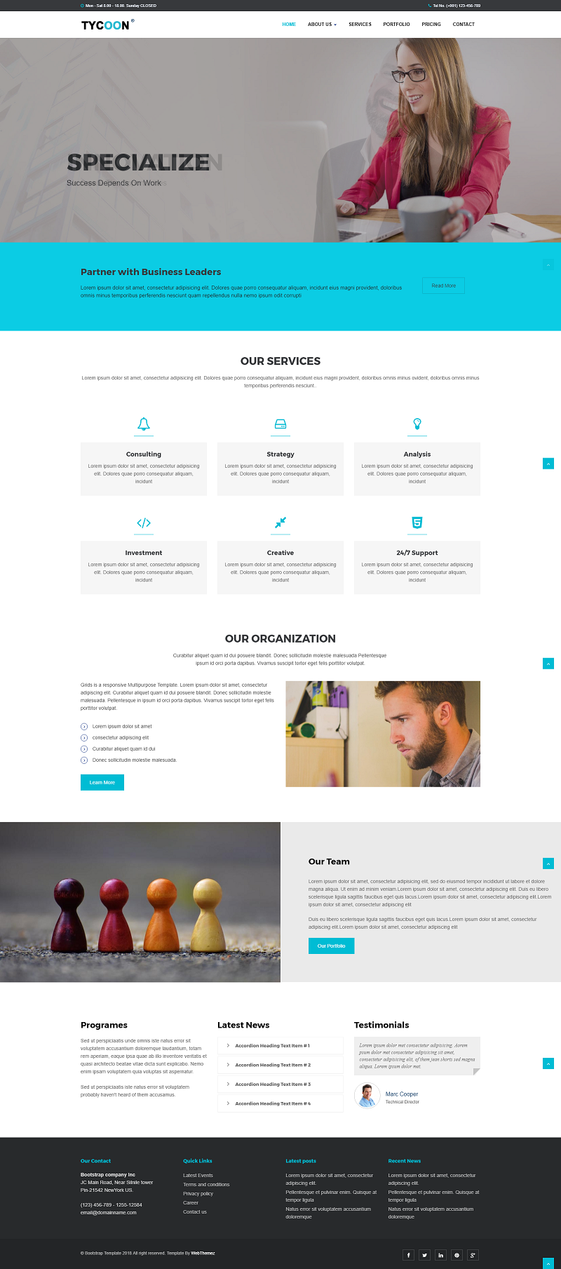 Tycoon Corporate Bootstrap HTML Website Template