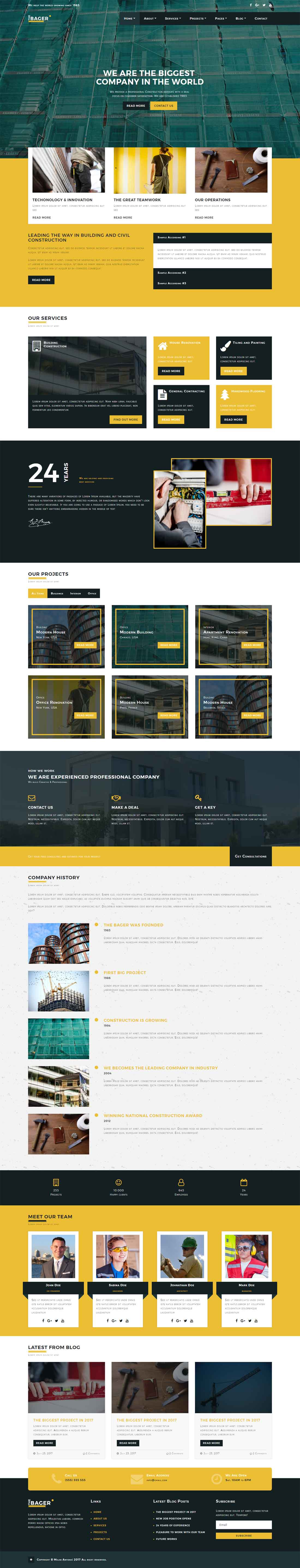 The Bager – Construction Building Bootstrap Website Template