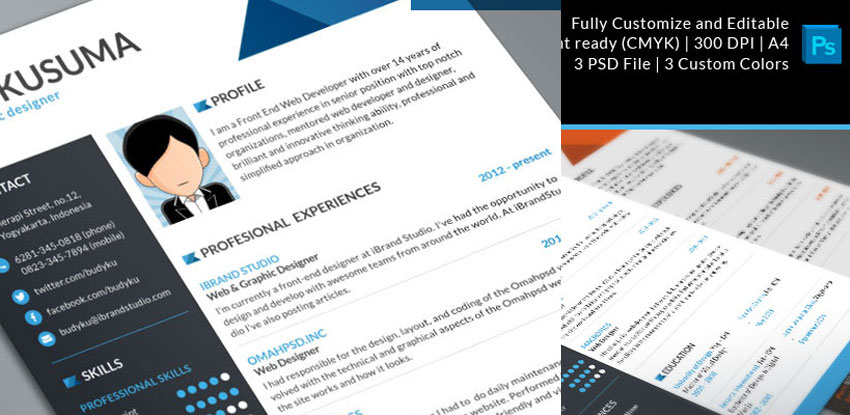Free Resume Template: Flasher – 3 Colors (PSD)