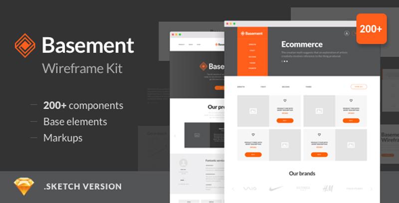 Basement Wireframe Kit – Corporate & Ecommerce Design Mockups