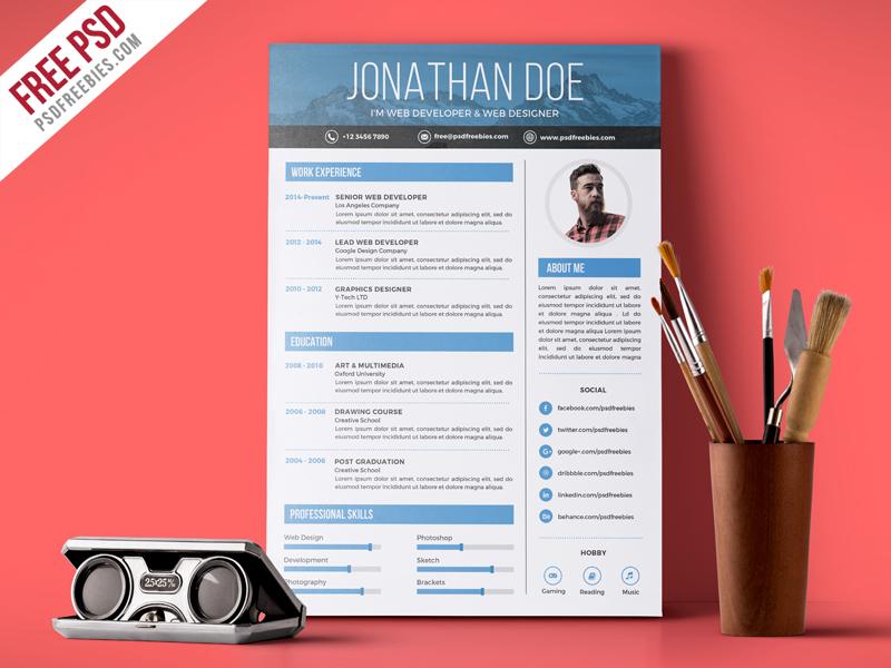 Creative Graphic Designer Resume PSD Template