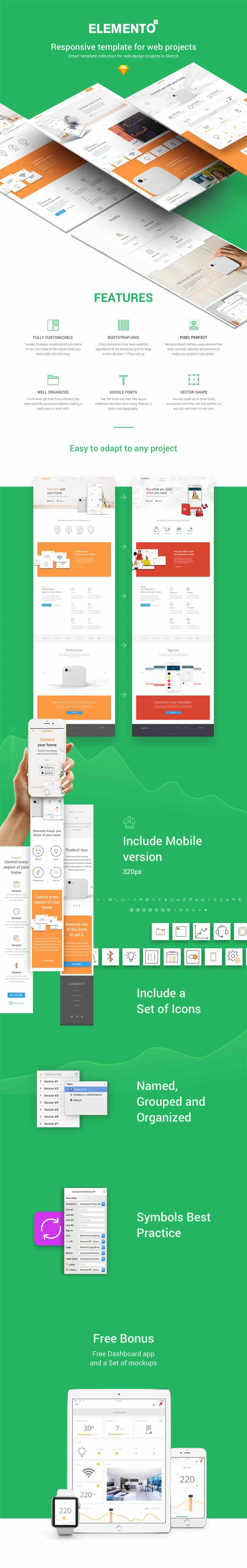 Elemento – App Landing Page Website Template Mockup
