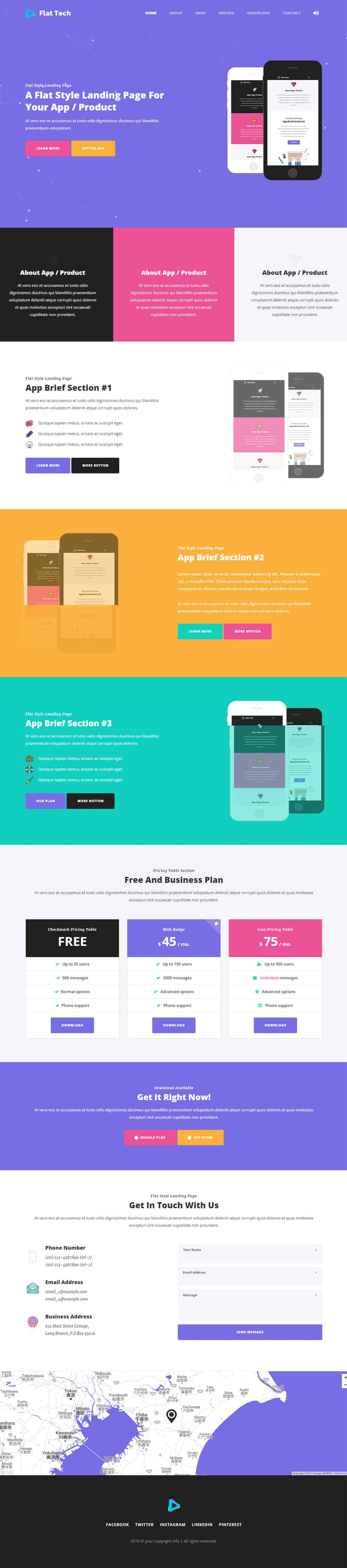 Flat Tech – Flat One Page App Landing Page Template