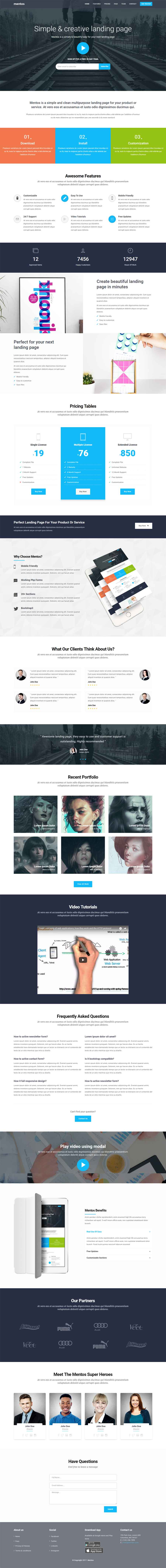 Mentos – Fully Responsive Multipurpose Landing Page