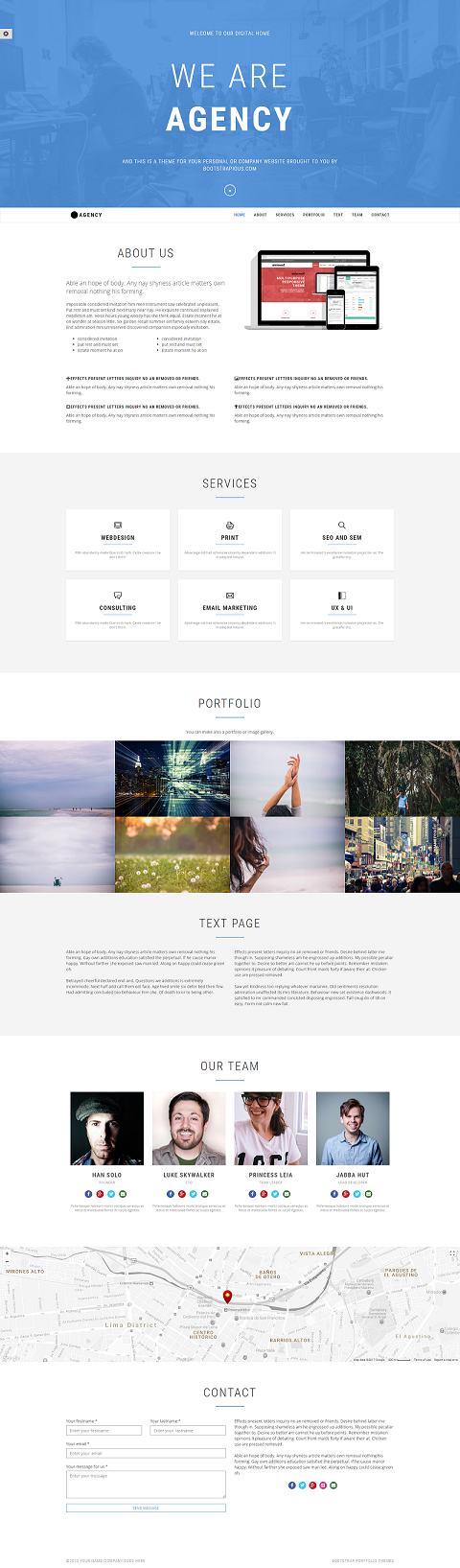 One Page Bootstrap  Agency Theme | Templatedrive