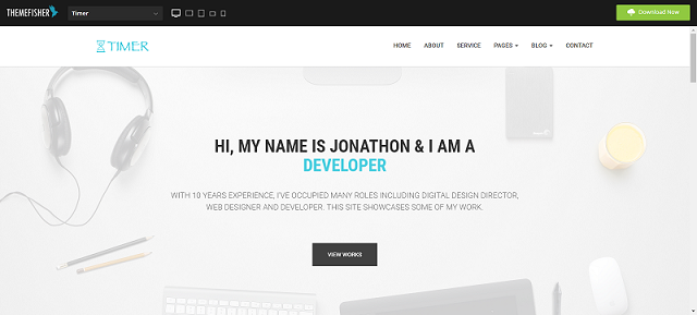 Timer One page website template html5 responsive free - Template Drive