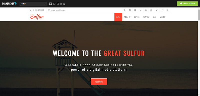 Sulfur Responsive Free Simple html5 responsive Template