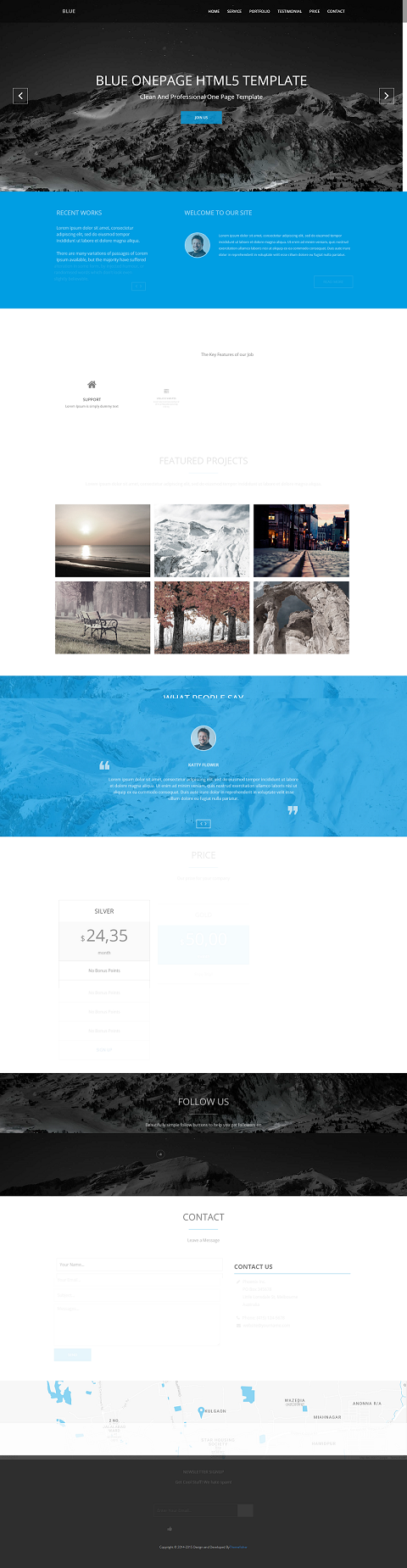 Blue One Page Website Template Html5 Responsive Free