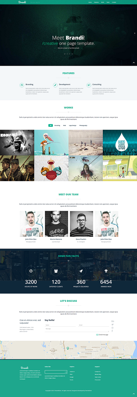 Brandi One page website template html5 responsive free
