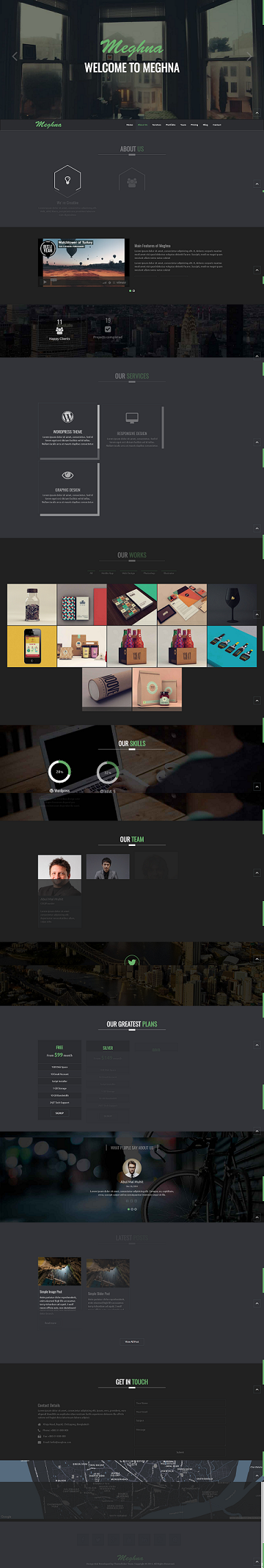 Meghna One page website template html5 responsive free download