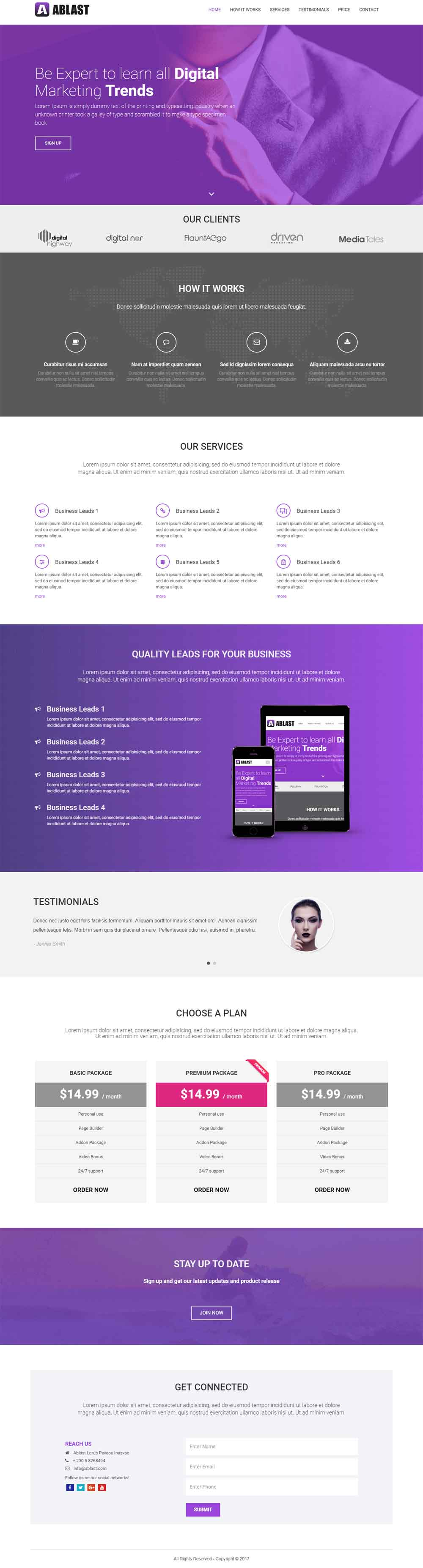 Ablast Agency Responsive One Page Landing Page
