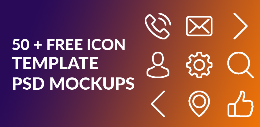 50+ Best Most Beautiful Free Icon Template PSD Mockups