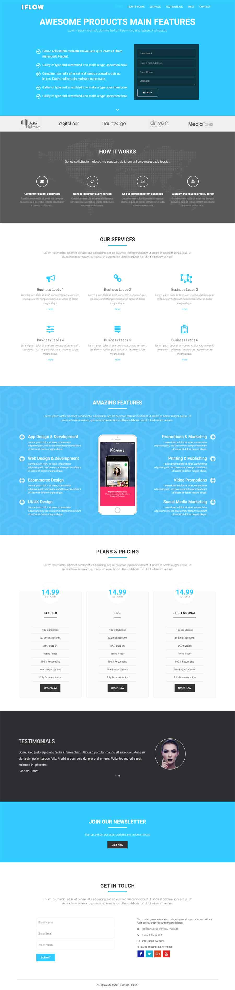 Iflow Responsive Free One Page Bootstrap Template