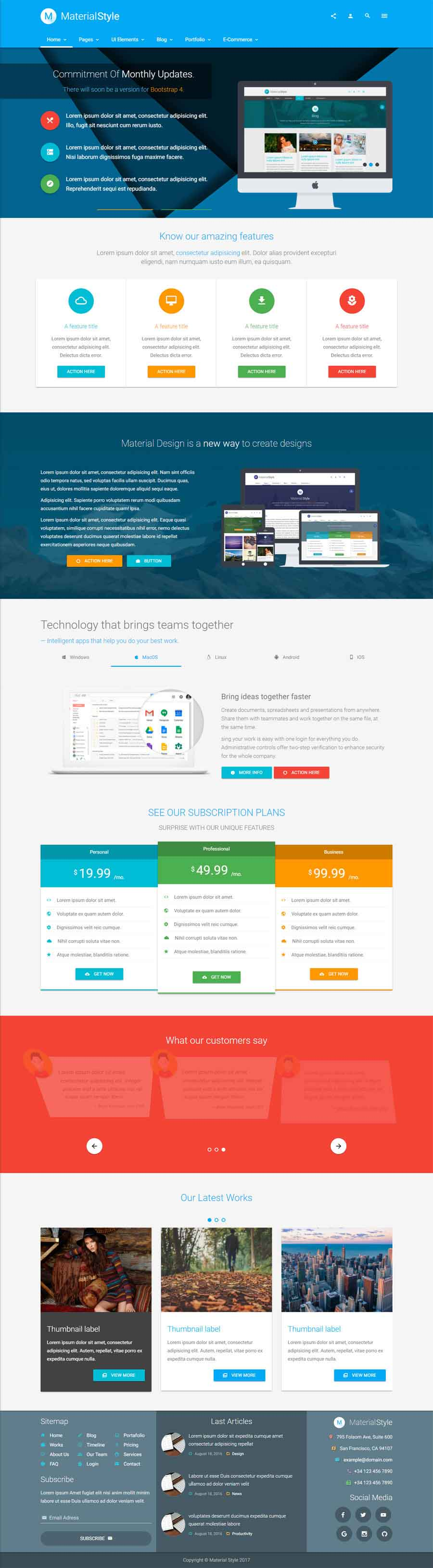 Material Style – Material Design HTML5 Template Download